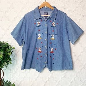 Vintage Cat Embroidered Button Up Chambray Top
